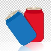 Aluminum cans or soda cans flat icon on a transparent background vector