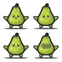 Cute cartoon avocado fruit kawaii design premium vector