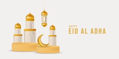 3D islamic display podium decoration background vector