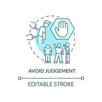 Avoid judgment concept icon. Racism at work abstract idea thin line illustration. Dealing with hidden prejudices. Unconscious bias. Vector isolated outline color drawing. Editable stroke