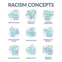 Racism concept icons set. Fighting racial discrimination, intolerance idea thin line color illustrations. Stop police brutality. Avoiding judgement. Vector isolated outline drawings. Editable stroke