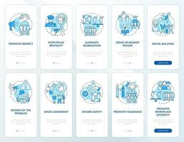 Fight racial intolerance onboarding mobile app page screens set. Support equality walkthrough 5 steps graphic instructions with concepts. UI, UX, GUI vector template with linear color illustrations