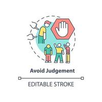 Avoid judgment concept icon. Racism at work abstract idea thin line illustration. Racial intolerance destroying in workplace. Unconscious bias. Vector isolated outline color drawing. Editable stroke