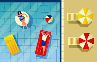 Swimming at Pool from Top View vector