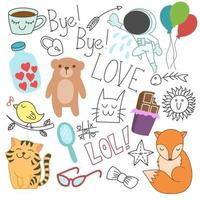 Cute childlike doodles, loves, valentines day, animal, object, art vector