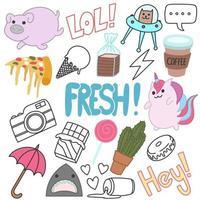 Set of cute doodles art, hand drawn, cartoon, fun vector