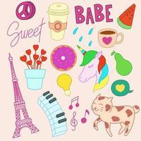 Set of cute doodles, Girl theme vector