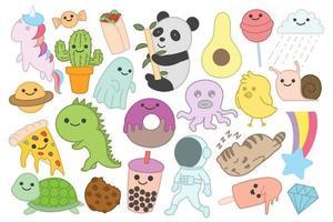 Set of cute doodles, stickers, cartoon, kawaii, hand drawn vector