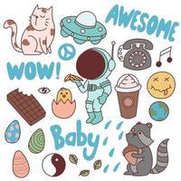 Set of cute doodles, drawings, hand drawn, art vector