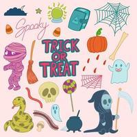 Set of cute Halloween doodles vector