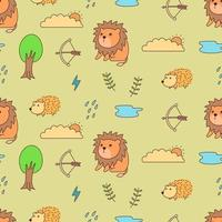Lion, hedgehog and nature seamless pattern vector
