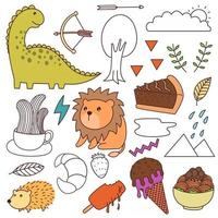 Set of various cartoons all in one vector