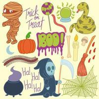 Set of cute halloween full color, cute, cartoon, hand drawn, drawings, doodles, art vector