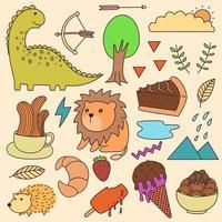 conjunto de varios dibujos animados todo en uno. garabatos, parche, lindo, niño, infantil, impresión, arte vector