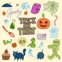 Cute Halloween doodles, trick or treat vector