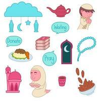 Ramadan and Eid Mubarak preperation, cute doodles, art, elements vector