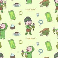 Cute happy boy and girl, Selamat Hari Raya meaning Eid Mubarak seamless pattern doodles, cartoon, child, childish, wallpaper, print, art vector