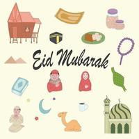 Cute Doodles Eid Mubarak, hand drawn, asian culture, art vector