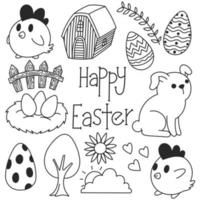 Happy Easter black and white doodles, cute, drawings, art vector