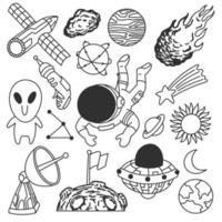 Cute cosmos doodles, black and white, vector
