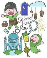 Selamat Hari Raya meaning Eid Mubarak for Malaysia holiday celebration vector