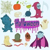 Set of cute Halloween doodles, stickers, drawing, cartoon, print, art vector
