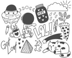Set of cute doodles, hand drawn, print, art vector