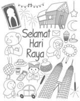 Selamat Hari Raya meaning Eid Mubarak. from Kuala Lumpur to hometown vector