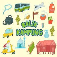 Balik kampung meaning Malaysia culture for holiday vector