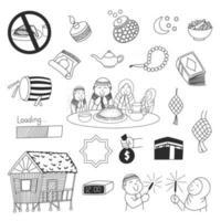 Ramadan and Eid Mubarak cute doodles vector