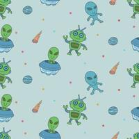 Cute aliens and robots doodles, seamless pattern for kids vector
