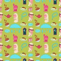 Ramadan wallpaper, cute boy and girl prayer vector