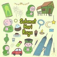 Selamat Hari Raya meaning Eid Mubarak. From Kuala Lumpur to hometown, Malaysia, doodles, hand drawn, set, lines, art vector