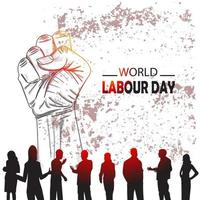 dibujado a mano o boceto día mundial del trabajo 1 de mayo vector