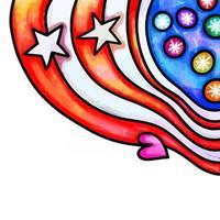 Patriotic Watercolor Folk Art Page Border vector