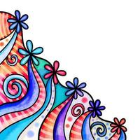 Patriotic Floral Watercolor Page Border vector