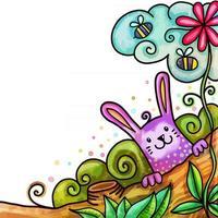 Watercolor Spring Bunny Nature Border vector