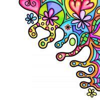Watercolor Floral Doodle Page Border vector
