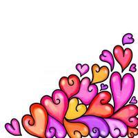 Watercolor Love Heart Page Border vector
