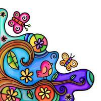 Watercolor Spring Garden Page Border vector