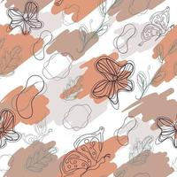 Minimal abstract wall painting. Line art seamless pattern with contour of butterflies, flowers, leaves and amoeba. Repeat background with earth neutral colors. Fashion texture with creative vectors