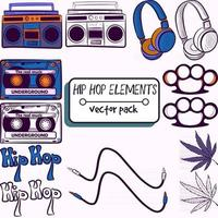 Pack with hiphop, techno, dance elements. Collection with cassette, radio, headphones, brass knuckles, marijuana, cable and hip hop text. Vintage and retro gadgets and music devices. vector