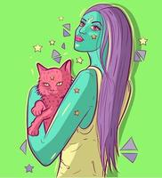 Alien funky woman with green skin holding a pink cat in her arms. Conceptual art of a young creature girl and her pet under neon light. Futuristic and psychedelic surreal cartoon illustration vector
