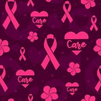 Pink seamless pattern with ribbons, hearts and flowers to raise awareness against breast cancer. International month for healthcare. Repeat texture for charity campains and women's health vector