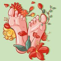 Vector illustration of female soles of feet around flowers, leaves and exotic vegetation. Barefoot woman with tropical plants around her legs. Conceptual art with pastel colors.