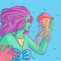 Mermaid interacting and touching a jellyfish. Alien woman with green skin swimming under water. Marine and ocean life conceptual art with corals and bubbles. Fish touching girl with tentacle vector