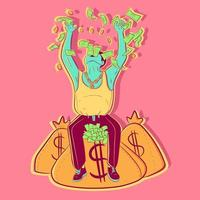 Conceptual art of a businessman on top of a money bag throwing bills in the air. Illustration of a banker about economics, success and being a millionaire. Vector of a rich entrepreneur.