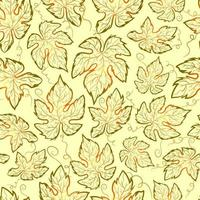Autumn seamless pattern with gradient grape leaves on a green surface. Repetitive and symmetric background with mapple and vine leaf. Botanical texture with curled plants vector