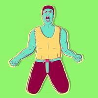 arte conceptual de un hombre gritando que representa el pecado de la ira de la biblia católica. hombre musculoso irritado y agresivo gritando y lanzando puños de ira. ilustración religiosa sobre el odio vector
