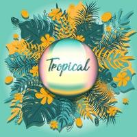 Summer hawaiian aloha greeting card with exotic and tropical vegetation. Business flyer or template with monstera palm leaves, yellow hibiscus and trees. Poster or brochure with paradise banner. vector